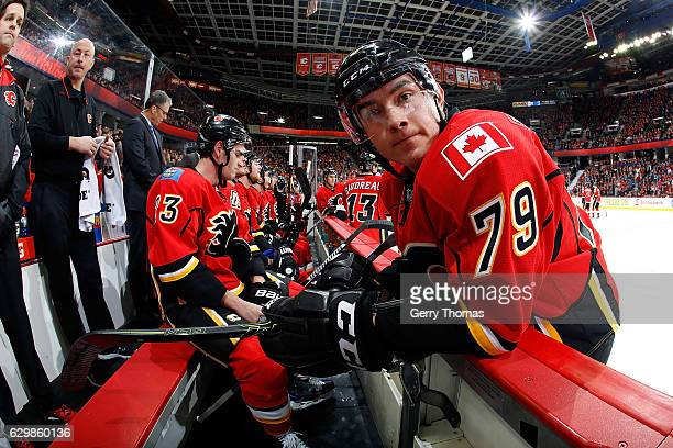 Micheal Ferland of the Calgary Flames takes a breather in between shifts during an NHL game against the Tampa Bay Lightning on December 14 2016 at...