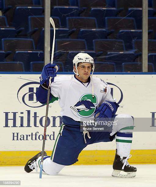 Micheal Haley of the Connecticut Whale prepares for his game against the Worcester Sharks at the XL Center on December 12 2012 in Hartford Connecticut