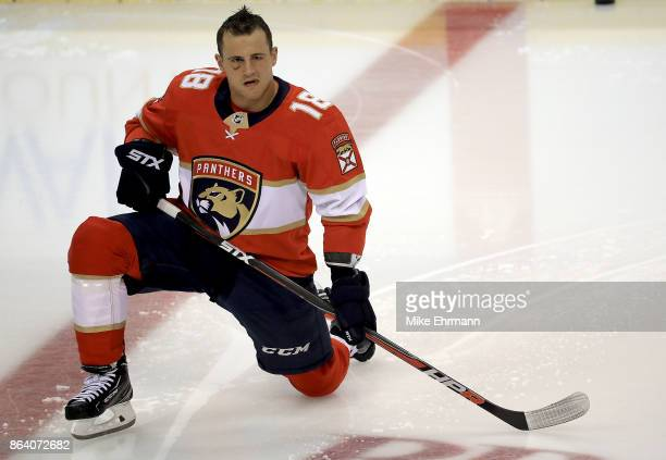 Micheal Haley of the Florida Panthers warms up during a game against the Pittsburgh Penguins at BBT Center on October 20 2017 in Sunrise Florida