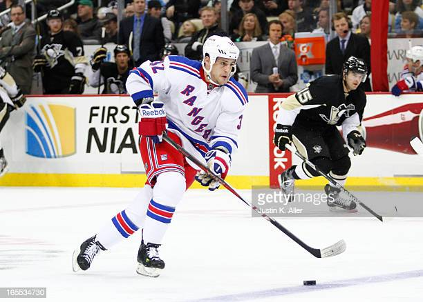 Micheal Haley of the New York Rangers skates against the Pittsburgh Penguins during the game at Consol Energy Center on March 16 2013 in Pittsburgh...