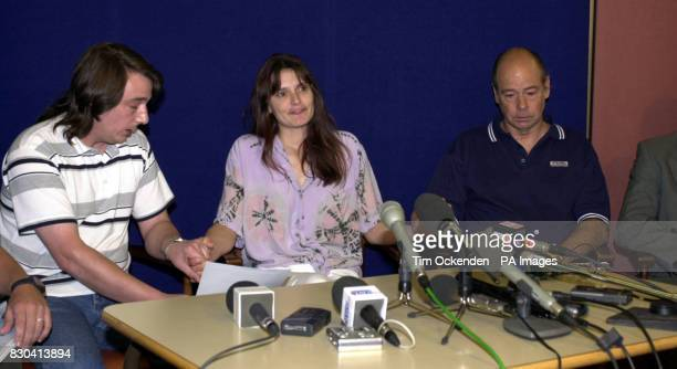 Micheal left and Sara Payne the parents of missing girl Sarah Payne with Sarah's grandfather Terry Payne at a press conference making an emotional...