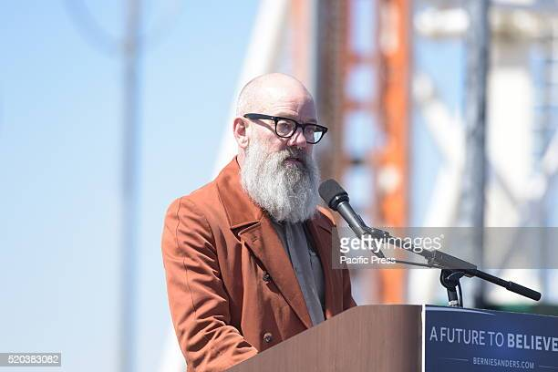 Micheal Stipe former lead singer of REM Sanders supporter introduces the candidate Democratic presidential candidate Bernie Sanders addressed...