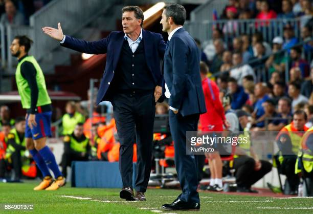 Michel and Ernesto Valverde during La Liga match between FC Barcelona v Malaga CF in Barcelona on October 21 2017