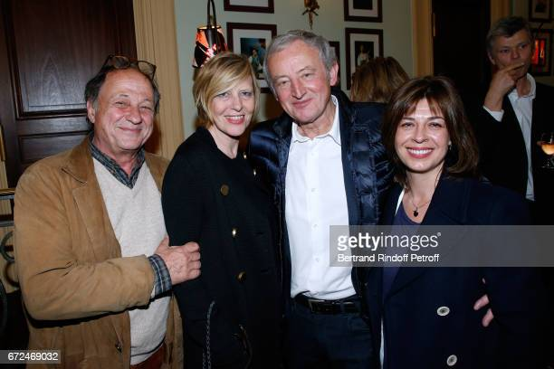 Michel Ansault his wife Chantal Ladesou Yann Queffelec and his wife Servanne attend 'La Recompense' Theater Play at Theatre Edouard VII on April 24...