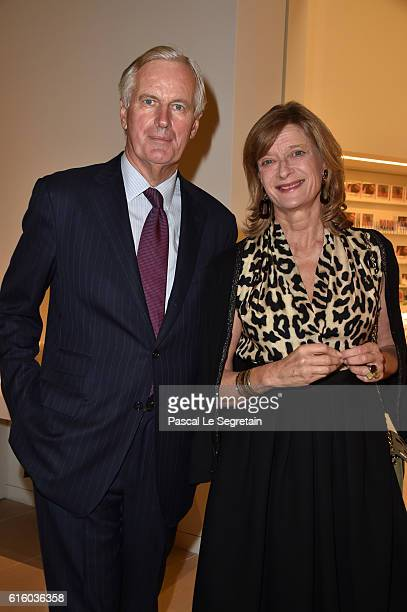 Michel Barnier and his wife Isabelle attend a Cocktail for the opening of 'Icones de l'Art Moderne La Collection Chtchoukine'at Fondation Louis...