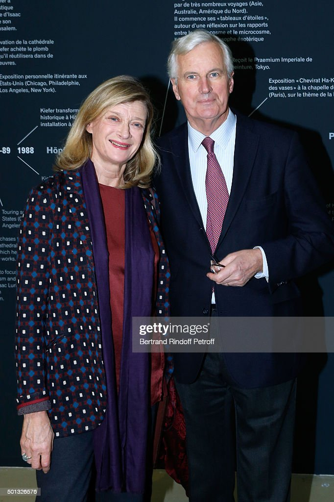 <a gi-track='captionPersonalityLinkClicked' href=/galleries/search?phrase=Michel+Barnier&family=editorial&specificpeople=220639 ng-click='$event.stopPropagation()'>Michel Barnier</a> and his wife Isabelle attend the Anselm Kiefer's Exhibition : Press Preview, held at Centre Pompidou on December 14, 2015 in Paris, France.