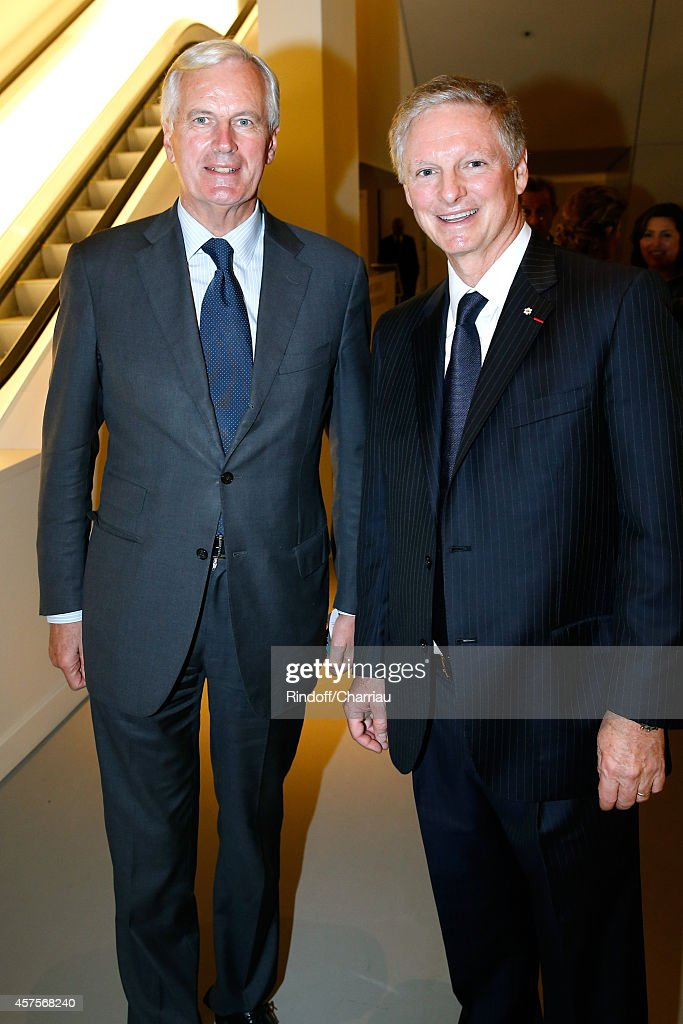 <a gi-track='captionPersonalityLinkClicked' href=/galleries/search?phrase=Michel+Barnier&family=editorial&specificpeople=220639 ng-click='$event.stopPropagation()'>Michel Barnier</a> and Paul Desmarais attend the Foundation Louis Vuitton Opening at Foundation Louis Vuitton on October 20, 2014 in Boulogne-Billancourt, France.