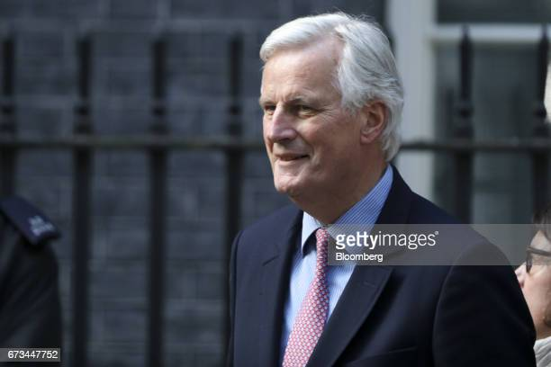 Michel Barnier chief Brexit negotiator for the European Union arrives in Downing Street in London UK on Wednesday April 26 2017 UK Prime Minister...