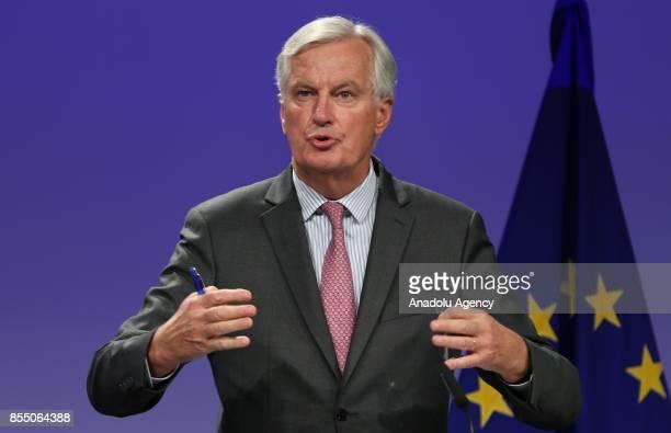 Michel Barnier Chief negotiator for the European Union and United Kingdom's Secretary of State for Exiting the European Union David Davis hold a...