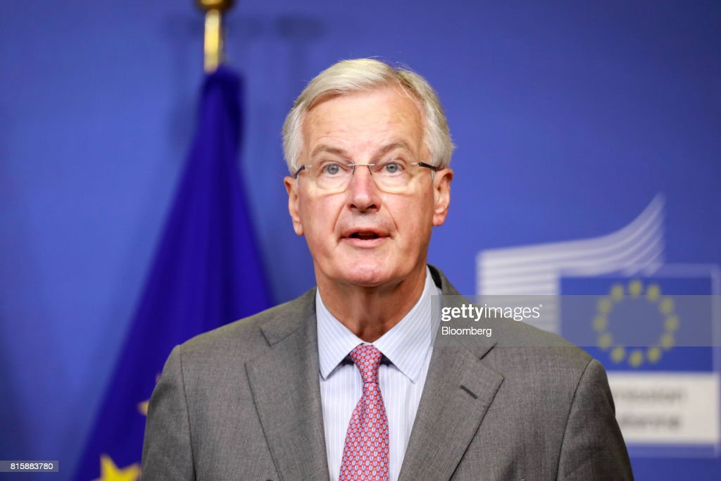 Michel Barnier, chief negotiator for the European Union (EU), looks on as he welcomes U.K. Exiting the European Union (EU) Secretary David Davis, not pictured, ahead of Brexit negotiations in Brussels, Belgium, on Monday, July 17, 2017. 'Brexit talks made a good start last month, we are now entering into the substance', U.K.s Brexit Secretary David Davis said ahead of meeting with Barnier. Photographer: Dario Pignatelli/Bloomberg via Getty Images