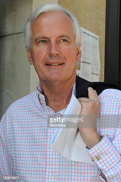 Michel Barnier EU commissioner for Internal Markets and Services pauses at the Cercle des Economistes' Rencontres Economiques meeting in...
