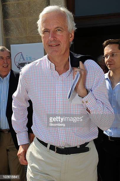Michel Barnier EU commissioner for Internal Markets and Services arrives at the Cercle des Economistes' Rencontres Economiques meeting in...