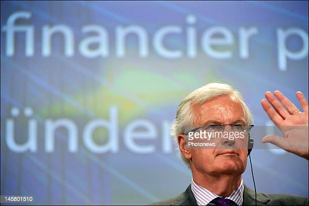 Michel Barnier European Commissioner for Internal Market and Services talks during his press conference on the Bank Resolution Scheme at the European...