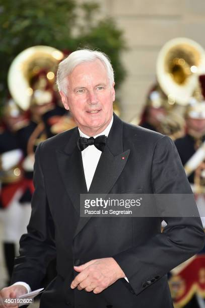 Michel Barnier financial services commissioner for the European Union arrives at the Elysee Palace for a State dinner in honor of Queen Elizabeth II...