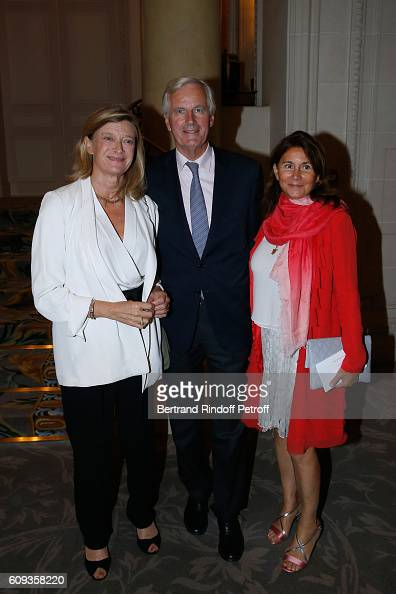 Michel Barnier standing between his wife Isabelle and Miss Denis de Kergorlay attend the Charity Dinner to Benefit 'Claude Pompidou Foundation'...