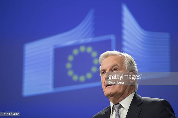 Michel Barnier the European Union's chief Brexit negotiator speaks during a news conference as European finance ministers meet in Brussels Belgium on...