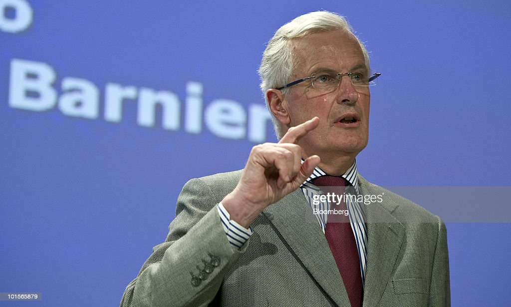 <a gi-track='captionPersonalityLinkClicked' href=/galleries/search?phrase=Michel+Barnier&family=editorial&specificpeople=220639 ng-click='$event.stopPropagation()'>Michel Barnier</a>, the European Union's internal markets commissioner, speaks at a news conference in Brussels, Belgium, on Wednesday, June 2, 2010. European Commission President Jose Manuel Barroso called for a 'commitment to keep the euro a strong and credible currency.' Photographer: Jock Fistick/Bloomberg via Getty Images