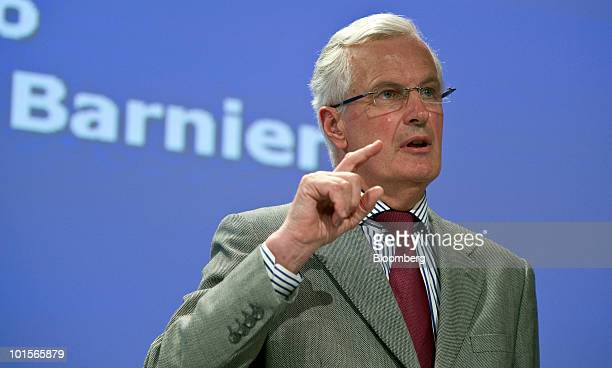 Michel Barnier the European Union's internal markets commissioner speaks at a news conference in Brussels Belgium on Wednesday June 2 2010 European...