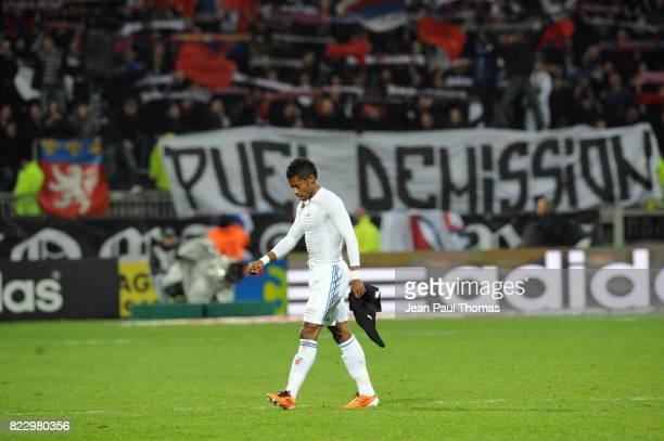 Michel BASTOS / Banderole Claude PUEL Lyon / Nancy 24eme journee de Ligue 1 Lyon