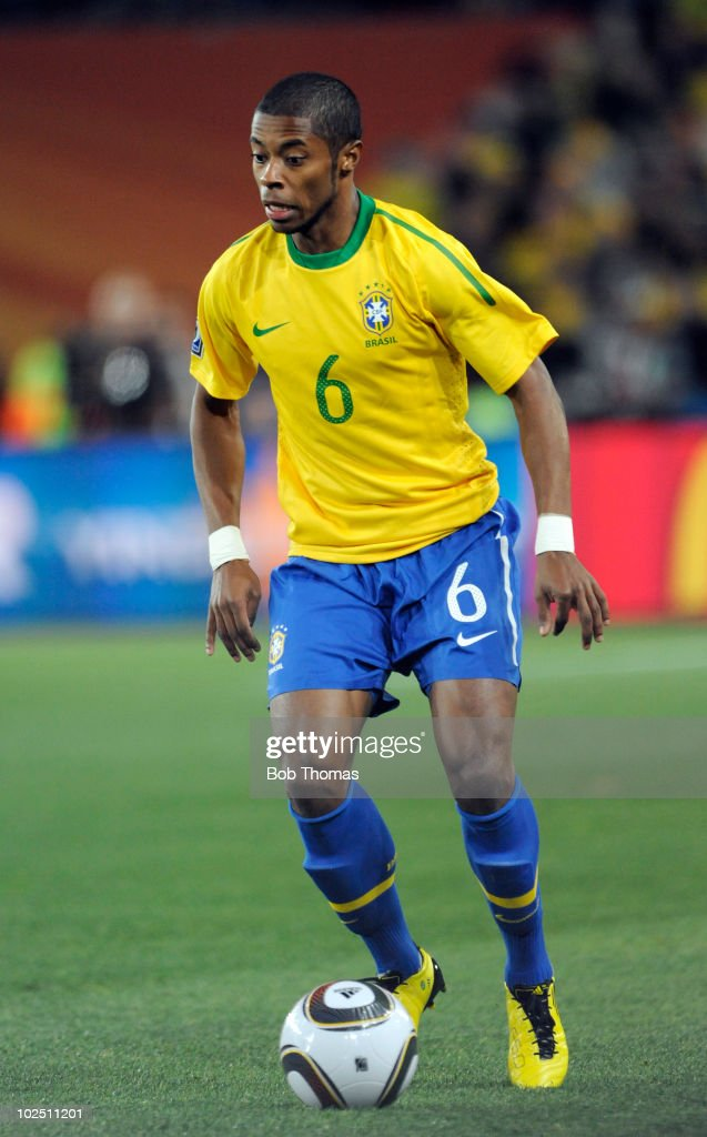 <a gi-track='captionPersonalityLinkClicked' href=/galleries/search?phrase=Michel+Bastos&family=editorial&specificpeople=1549621 ng-click='$event.stopPropagation()'>Michel Bastos</a> of Brazil during the 2010 FIFA World Cup South Africa Round of Sixteen match between Brazil and Chile at Ellis Park Stadium on June 28, 2010 in Johannesburg, South Africa. Brazil won the match 3-0.