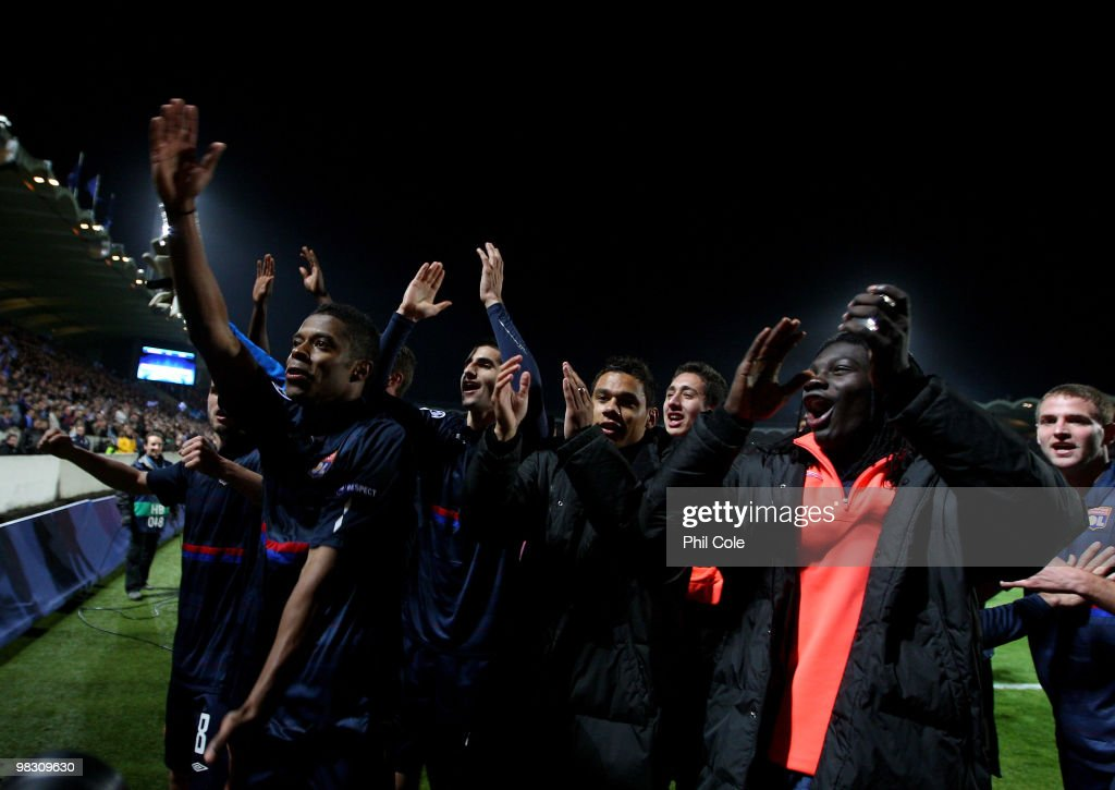 Michel Bastos of Olympique Lyonnais celabrates after winning in the UEFA Champions League quarter final second leg match between Bordeaux and...