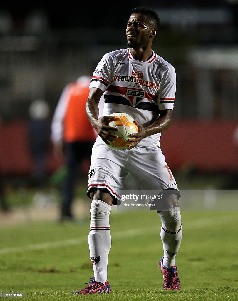 <a gi-track='captionPersonalityLinkClicked' href=/galleries/search?phrase=Michel+Bastos&family=editorial&specificpeople=1549621 ng-click='$event.stopPropagation()'>Michel Bastos</a> of Sao Paulo reacts during a match between Sao Paulo and San Lorenzo as part of Group 2 of Copa Bridgestone Libertadores at Morumbi Stadium on March 18, 2015 in Sao Paulo, Brazil.