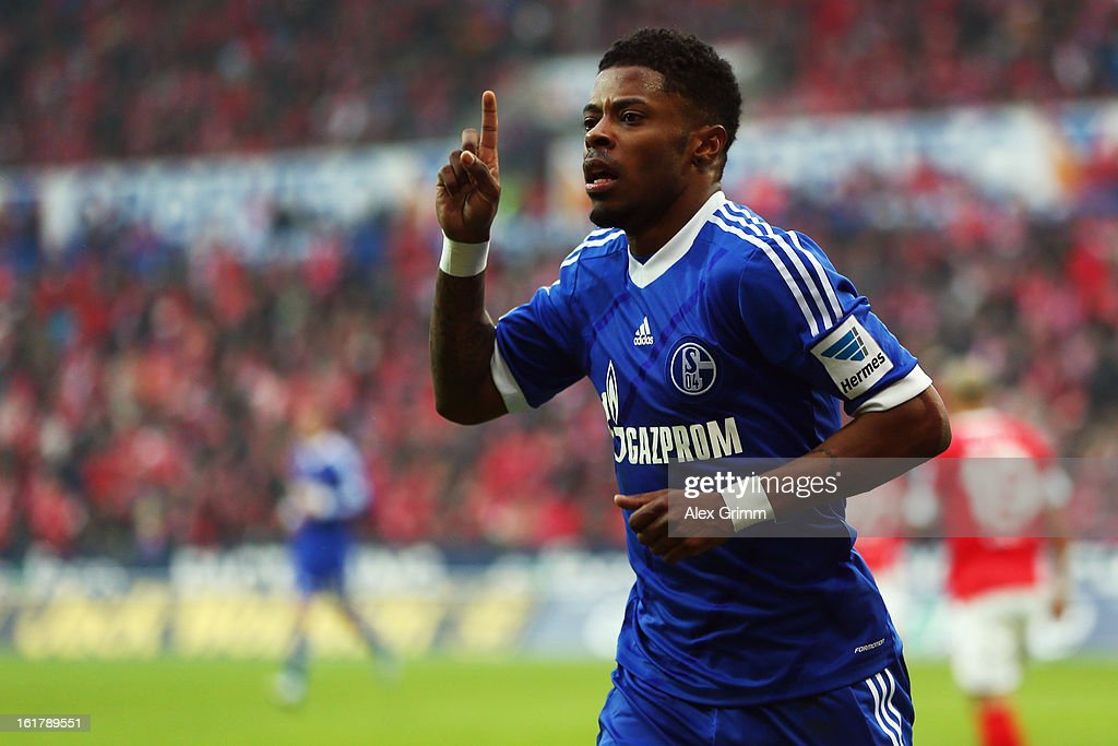 <a gi-track='captionPersonalityLinkClicked' href=/galleries/search?phrase=Michel+Bastos&family=editorial&specificpeople=1549621 ng-click='$event.stopPropagation()'>Michel Bastos</a> of Schalke celebrates his team's first goal during the Bundesliga match between 1. FSV Mainz 05 and FC Schalke 04 at Coface Arena on February 16, 2013 in Mainz, Germany.