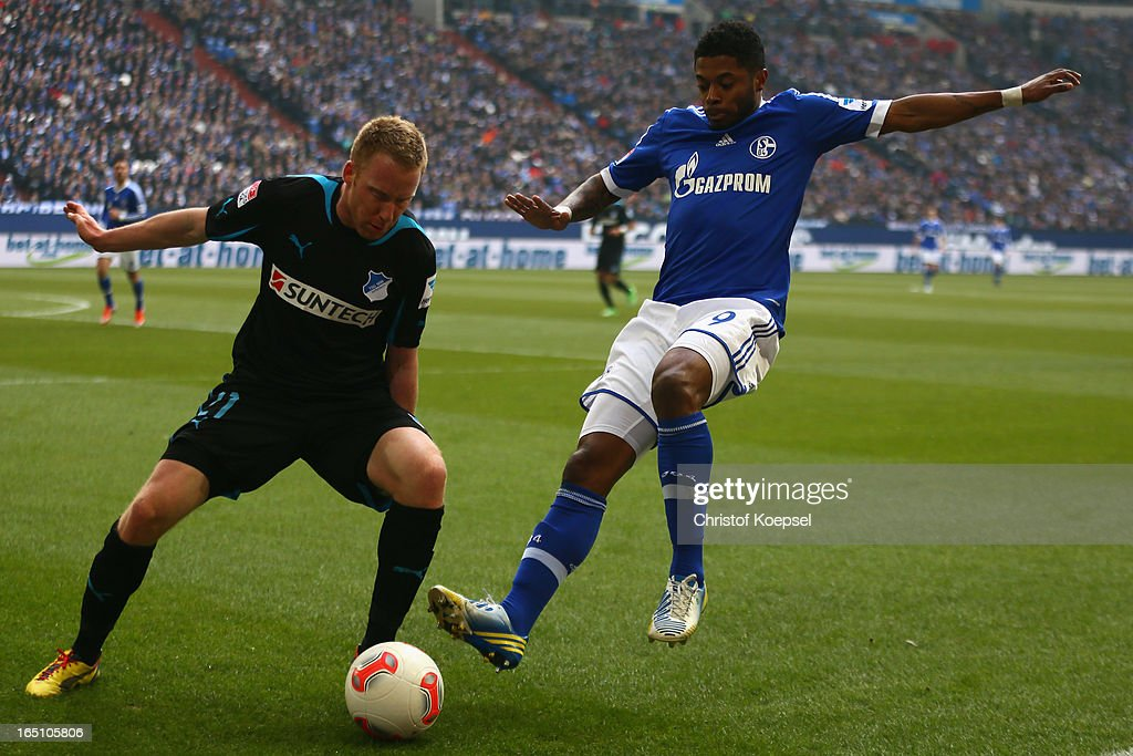 Michel Bastos of Schalke (R) challenges Patrick Ochs of Hoffenheim (L) during the Bundesliga match between FC Schalke 04 and TSG 1899 Hoffenheim at Veltins-Arena on March 30, 2013 in Gelsenkirchen, Germany.