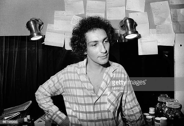 Michel Berger French composersongwriter and singer in his dressing room Paris Olympia 1982