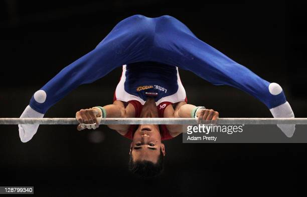 Michel Bletterman of the Netherlands competes on the Horizontal Bar aparatus in the Men's qualification during day three of the Artistic Gymnastics...