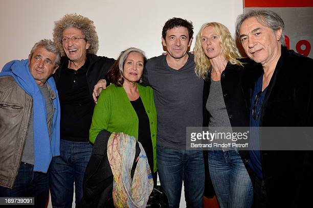 Michel Boujenah Elie Chouraqui Francoise Fabian Patrick Bruel Sandrine Kiberlain and Richard Berry backstage after Patrick Bruel's concert at Zenith...