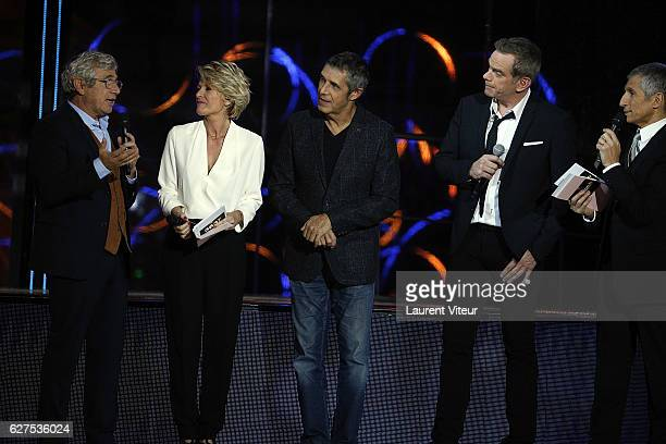 Michel Boujenah Sophie Davant Julien Clerc Garou and Nagui attend 30th Telethon at Hippodrome de Longchamp on December 3 2016 in Paris France