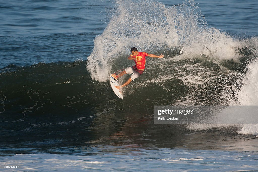 Michel Bourez of Tahiti placed equal 17th in the REEF Hawaiian Pro at Ali'i Beach Park on November 24, 2012 in Haleiwa, Hawaii.