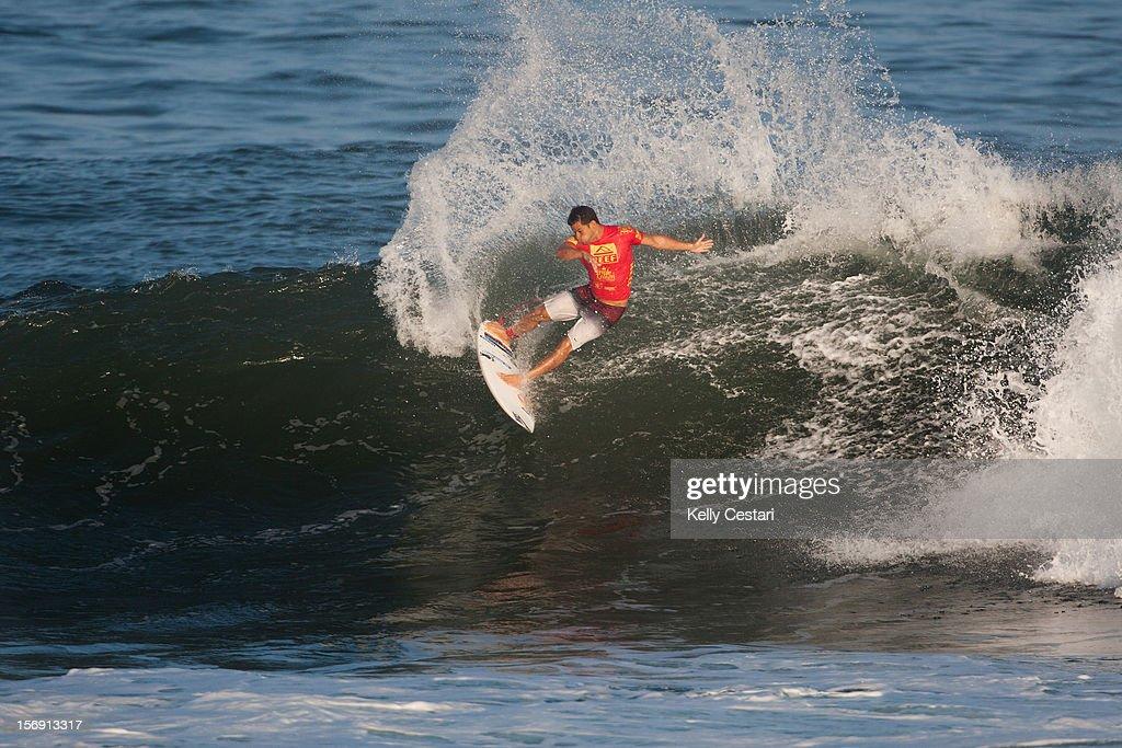 Michel Bourez of Tahiti placed equal 17th in the REEF Hawaiian Pro at Ali'i Beach Park on November 24, 2012 in Haleiwa, Hawaii.