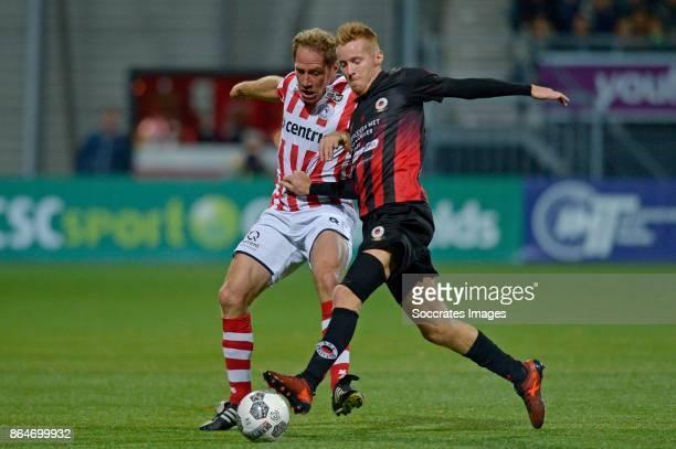 Michel Breuer of Sparta Rotterdam Mike van Duinen of Excelsior during the Dutch Eredivisie match between Excelsior v Sparta at the Van Donge De Roo...