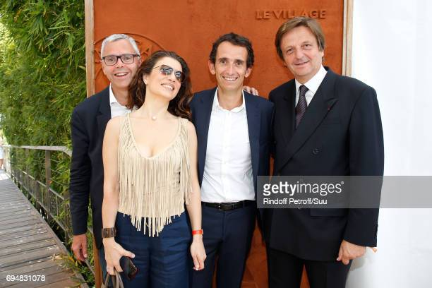 Michel Combes his wife Christie Julian CEO of Fnac Alexandre Bompard and JeanLuc Allavena the Men Final of the 2017 French Tennis Open Day Fithteen...