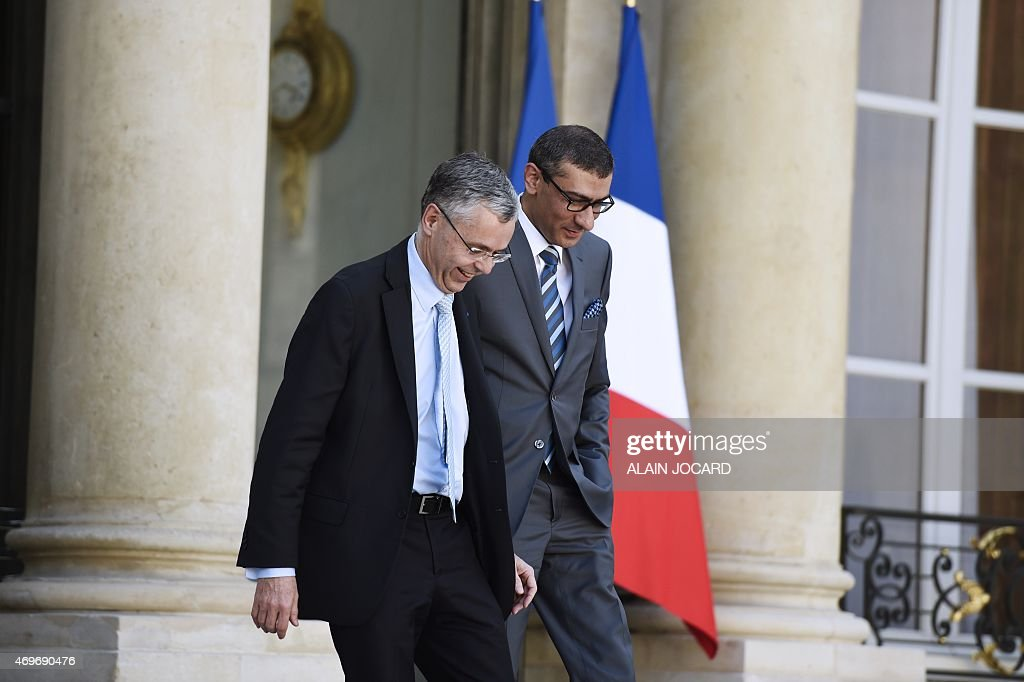 <a gi-track='captionPersonalityLinkClicked' href=/galleries/search?phrase=Michel+Combes&family=editorial&specificpeople=6531244 ng-click='$event.stopPropagation()'>Michel Combes</a> (L), Telecom equipment maker Alcatel-Lucent Chief Executive Officer and Nokia's President and Chief Executive <a gi-track='captionPersonalityLinkClicked' href=/galleries/search?phrase=Rajeev+Suri&family=editorial&specificpeople=7403666 ng-click='$event.stopPropagation()'>Rajeev Suri</a> leave the Elysee palace after a meeting with French president in Paris, on April 14, 2015. Nokia Oy is in talks to buy smaller telecom equipment maker Alcatel-Lucent, a deal that would combine the industry's two weakest players but could pose challenges in cutting costs and overcoming political opposition.