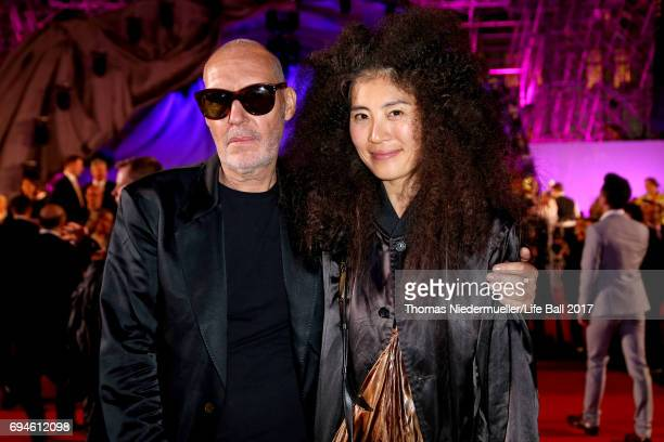 Michel Comte and Ayako Yoshida arrive for the Life Ball 2017 at City Hall on June 10 2017 in Vienna Austria