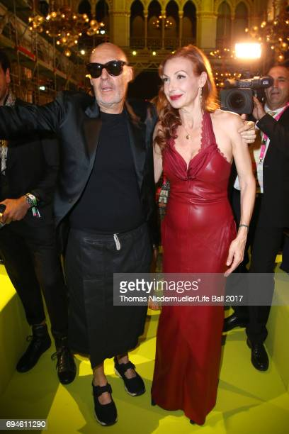 Michel Comte and Ute Lemper attend the Life Ball 2017 Gala Dinner at City Hall on June 10 2017 in Vienna Austria