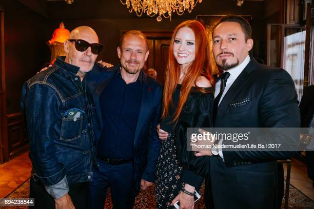 Michel Comte Gery Keszler Barbara Meier and her boyfriend Klemens Hallmann attend the Life Ball 2017 reception at Palais Szechenyi on June 9 2017 in...