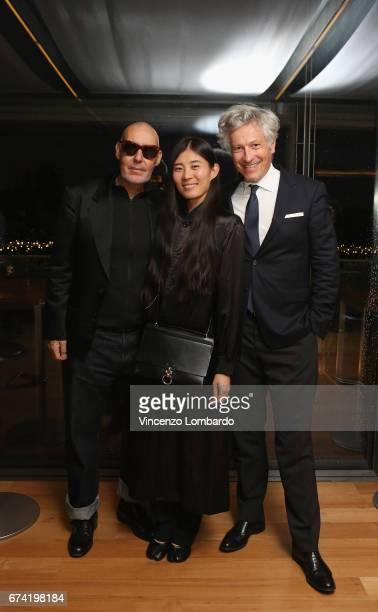 Michel ComteAyako Comte and Andrea attend the exhibition 'La Terra Inquieta' at Triennale di Milano on April 27 2017 in Milan Italy