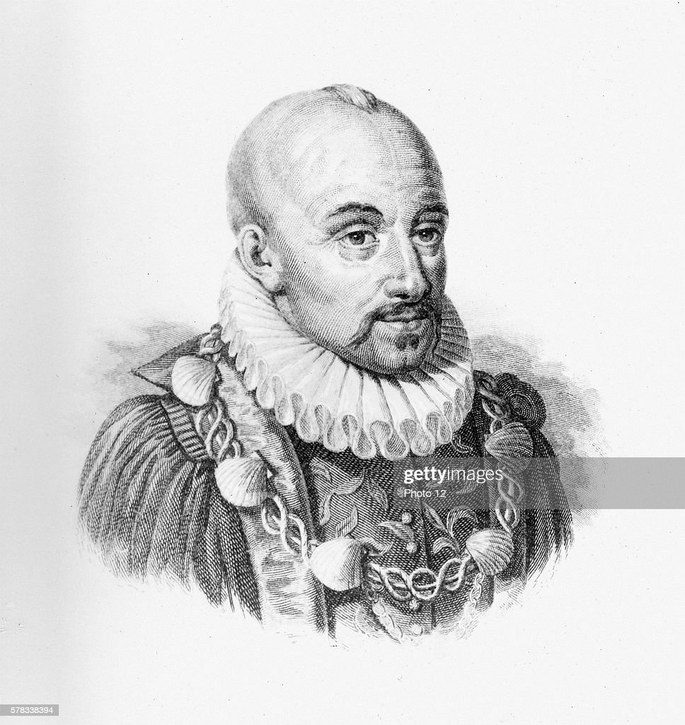 Michel de Montaigne French philosopher and author Dressed as Knight of the King's Order wearing the golden chain of the Order of SaintMichael awarded...