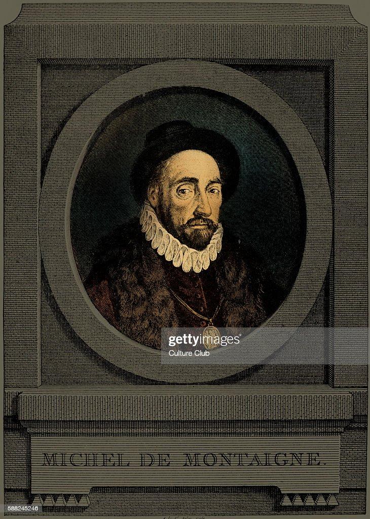 Michel de Montaigne portrait of the French writer 28 February 1533 13 September 1592 Engraving by Charles Germain de Saint Aubin Portrait in...
