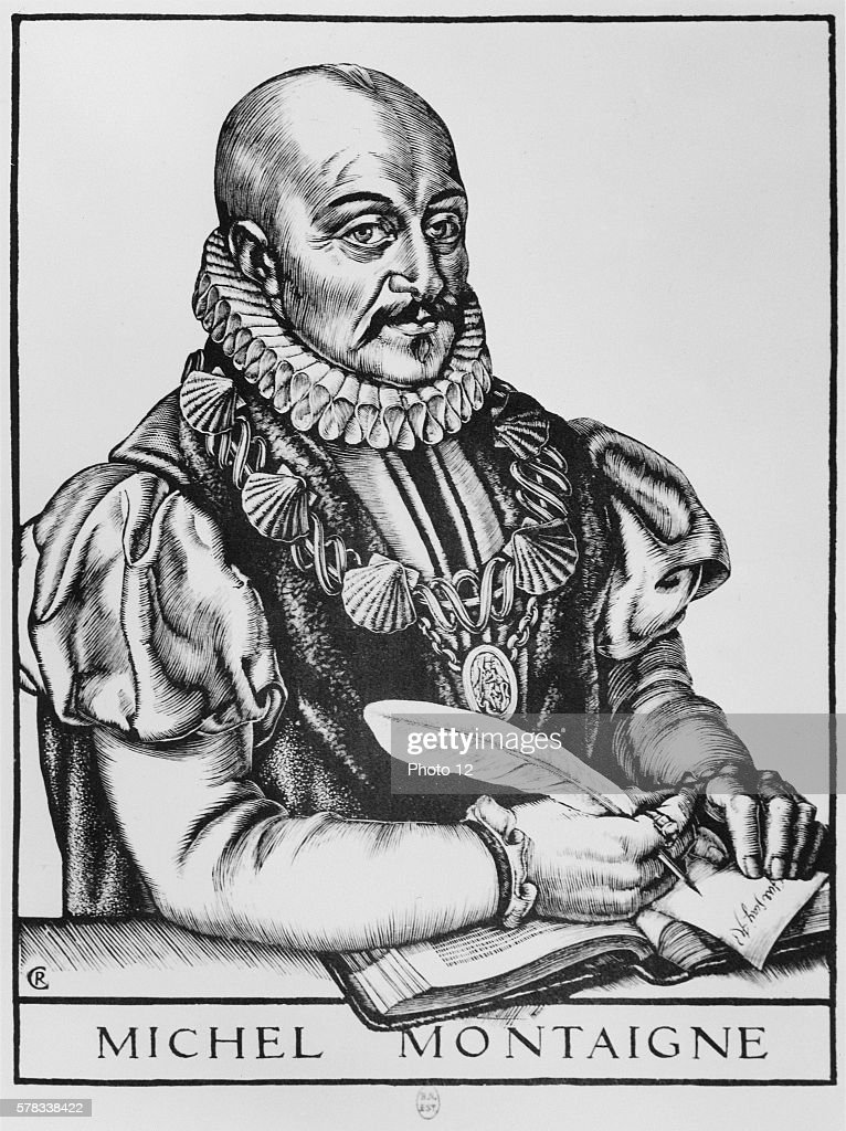 Michel de Montaigne writing Engraving of the author as Knight of the King's Order wearing the golden chain of the Order of SaintMichael awarded by...