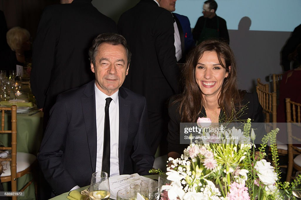 Michel Denisot and Doria Tillier attend the Sidaction Gala Dinner at Pavillon d'Armenonville, in Paris.