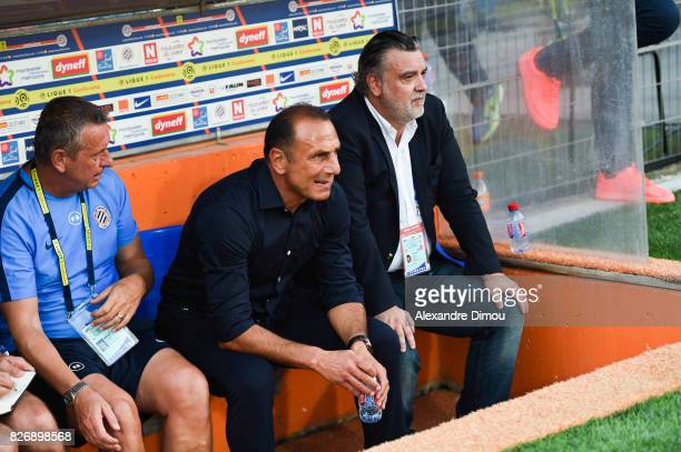 Michel Der Zakarian Coach and Laurent Nicollin President of Montpellier during the Ligue 1 match between Montpellier Herault SC and SM Caen at Stade...