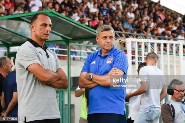 Michel Der Zakarian Coach of Montpellier and Bruno Genesio Coach of Lyon during the Friendly match between Montpellier Herault and Olympique Lyonnais...
