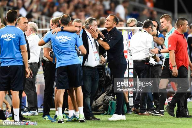 Michel Der Zakarian head coach and Laurent Nicollin President of Montpellier celebrate the victory during the Ligue 1 match between Montpellier...