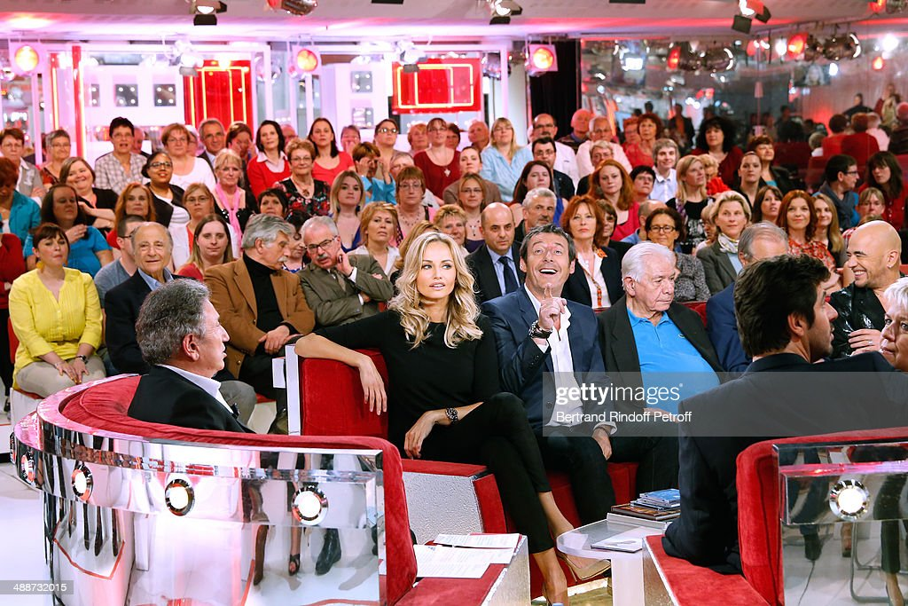 Michel Drucker, Adriana Karembeu, Jean-Luc Reichmann, Michel Galabru, Patrick Fiori, Pascal Obispo and Mimie Mathy attend the 'Vivement Dimanche' French TV Show, held at Pavillon Gabriel on May 14, 2014 in Paris, France.
