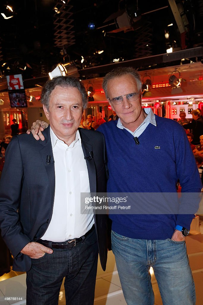 <a gi-track='captionPersonalityLinkClicked' href=/galleries/search?phrase=Michel+Drucker&family=editorial&specificpeople=769504 ng-click='$event.stopPropagation()'>Michel Drucker</a> and Actor Christophe Lambert attend 'Vivement Dimanche' TV Show at Pavillon Gabriel on November 25, 2015 in Paris, France.